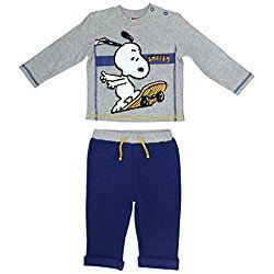 Peanuts Infant Boys 2 Piece Skateboarding Snoopy Gray Shirt & Blue Pants Outfit
