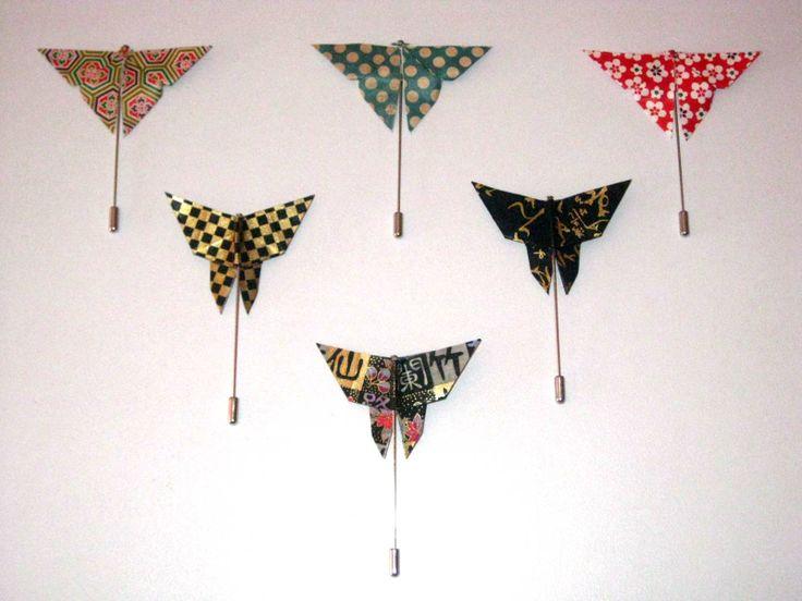 Origami Pin's Butterflies | Borboletas More info: https://www.facebook.com/oficinaa6shop