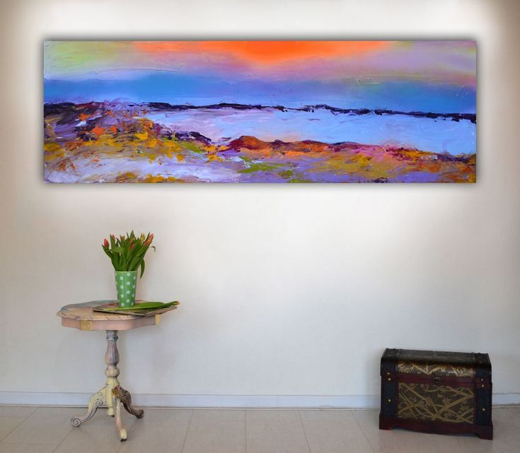 Buy New Horizon 47 - 120x40 cm, Large Modern Ready to Hang Abstract Landscape, Seascape, Sunset Abstract Painting, Acrylic painting by Soos Roxana Gabriela on Artfinder. Discover thousands of other original paintings, prints, sculptures and photography from independent artists.