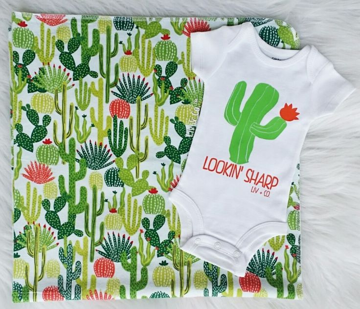 Handmade 32x32 cactus flannel baby swaddle blanket & our signature 'lookin' sharp' cactus baby bodysuit. The blanket is the perfect receiving blanket to wrap your newborn in when he or she arrives, and because of it's generous size, will last your children well into their toddler years.