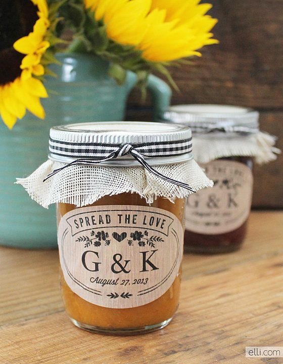 "Rustic Jam Jar Favor Labels: The ""Spread the Love"" quote on this label is adorable! These  rustic jam favor labels will have your guests feeling loved. Source: The Elli Blog"