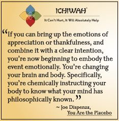 If you can bring up the emotions of appreciation or thankfulness, and combine it with a clear intention, you're now beginning to embody the event emotionally. You're changing your brain and body. Specifically, you're chemically instructing your body to know what your mind has philosophically known..– Joe Dispenza, You Are the Placebo