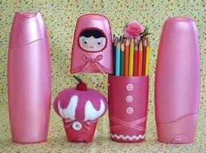 ARTE COM QUIANE -  Reciclagem embalagem shampoo Seda