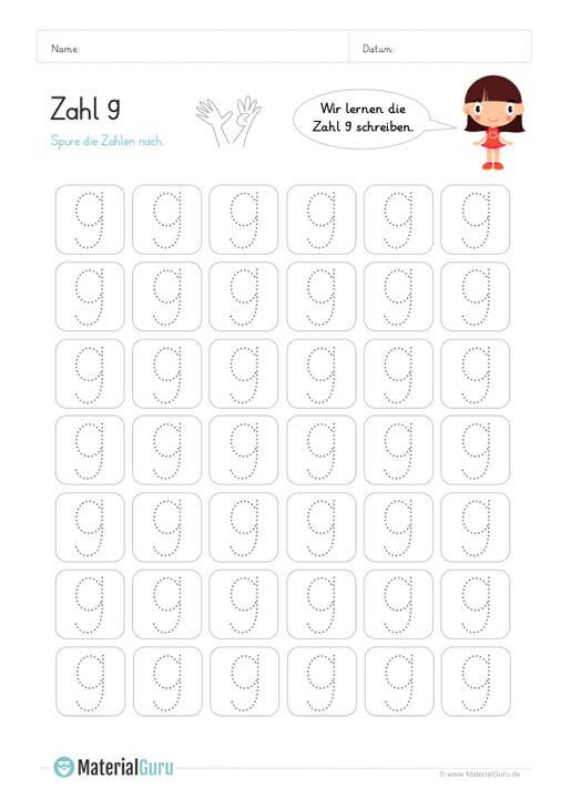 Ein kostenloses Mathe-Arbeitsblatt zum Schreiben lernen der Zahl 9 ...