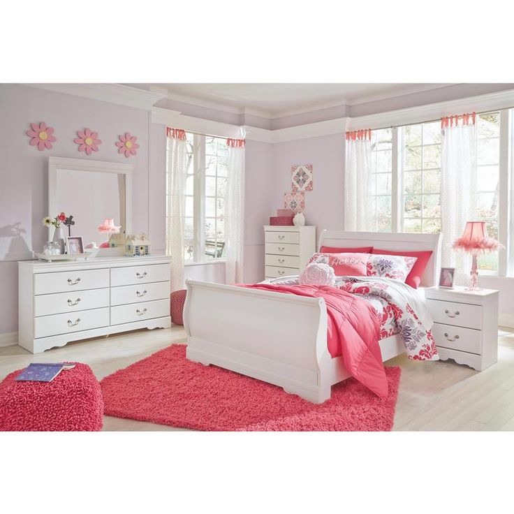 Anarasia 6 pc Full Sleigh Bedroom Set  The Signature Design Anarasia bedroom set's crisp cottage white gives traditional Louis Philippe profiling a delightful style awakening. The look is timeless. The feel? Right at home. This set includes a full sleigh headboard, footboard and rails as well as a dresser, mirror and nightstand.   #BedRoom #MyrtleBeachFurnitureStore