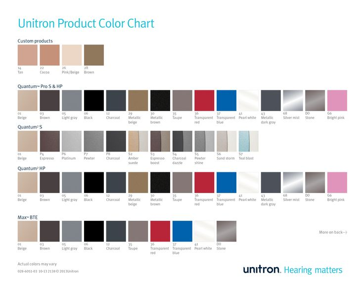 Unitron product color card, page 1 of 2