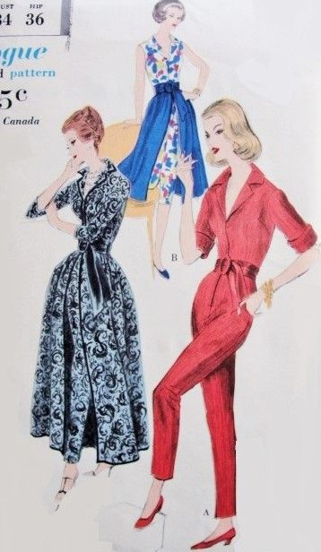1950s Elegant Evening Jumpsuit and Overskirt Hostess Pattern Vogue 9898  I Love Lucy Forever Darling Patio Lounging Outfit Slim Cigarette Leg Jumpsuit Flowing Over Skirt Capri Pants Version Included Bust 34 Vintage Sewing Pattern