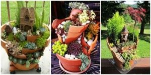DIY Broken Clay Pot Fairy Garden Ideas and Instructions...succulent plants