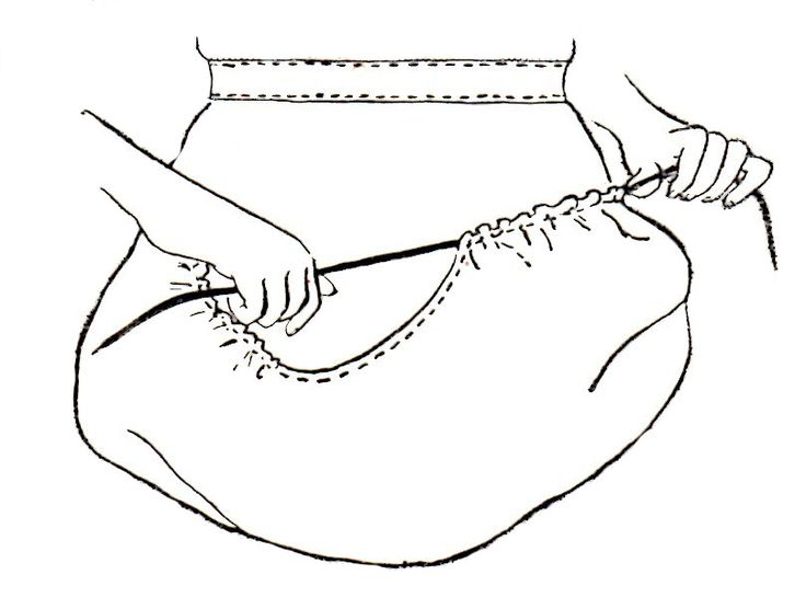 An easy to sew basket apron from a 1944 US Department of Agriculture Farmer's Bulletin. No pattern, but you can follow along with the diagrams and instructions.
