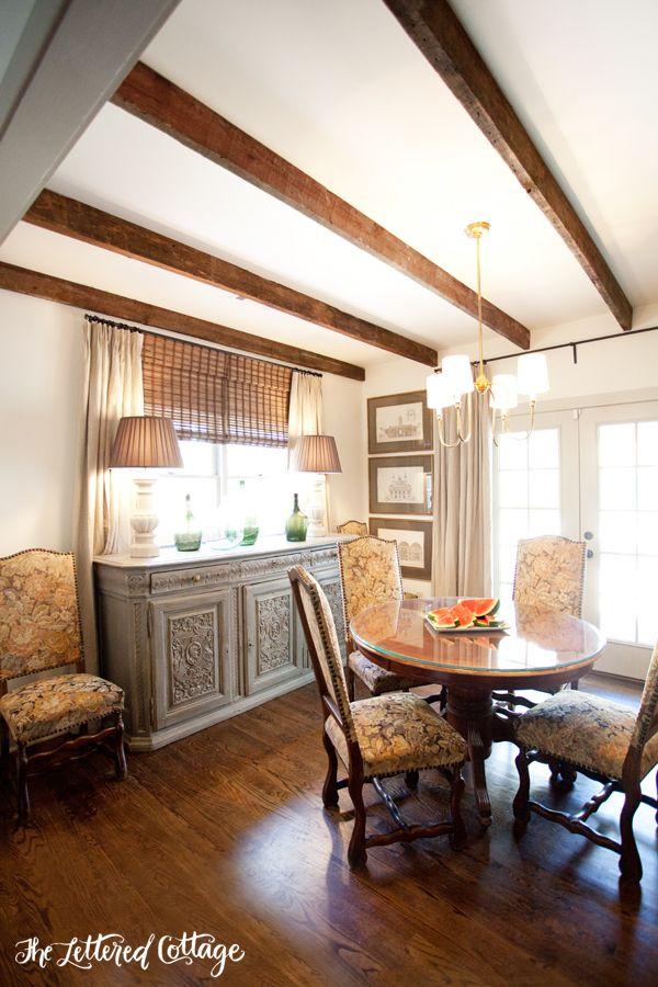 Ashley Gilbreath   Dining Room   Wood Beamed Ceiling   Dark Hardwood Floor