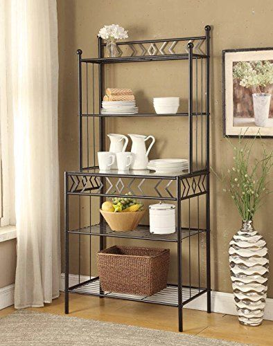 Finish: Black Material: Metal and Glass Features 5-tier of Glass and Metal Shelves