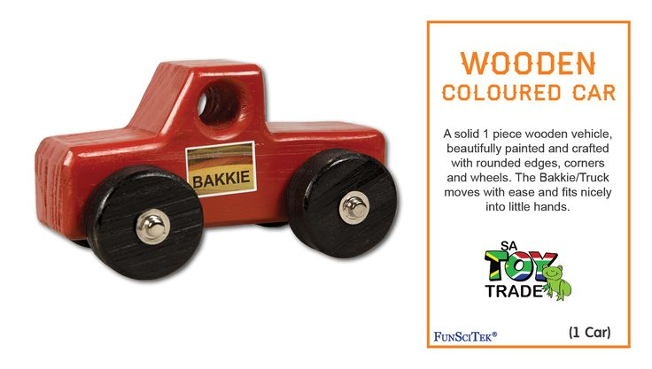 A solid 1 piece wooden vehicle, beautifully painted and crafted with rounded edges, corners and wheels. The Bakkie/Truck moves with ease and fits nicely into little hands. Children can play with the vehicle by pushing it around on a service, where the wheels will turn and easily move. This product is designed for physical Development with enhance Fine and Gross-motor skills and Fantasy Play. For ages 18 months+.