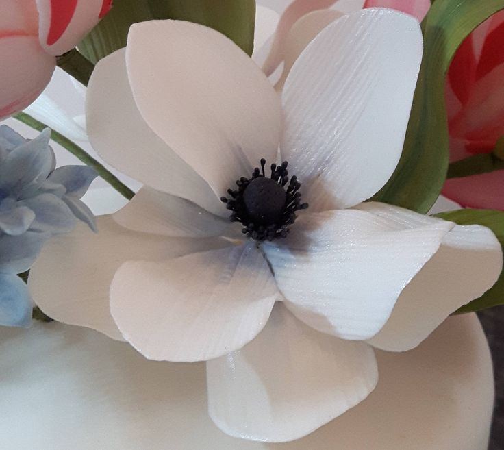 Gumpaste Anemone Sugar Flower Wedding Cake Topper by GateauPrestige on Etsy