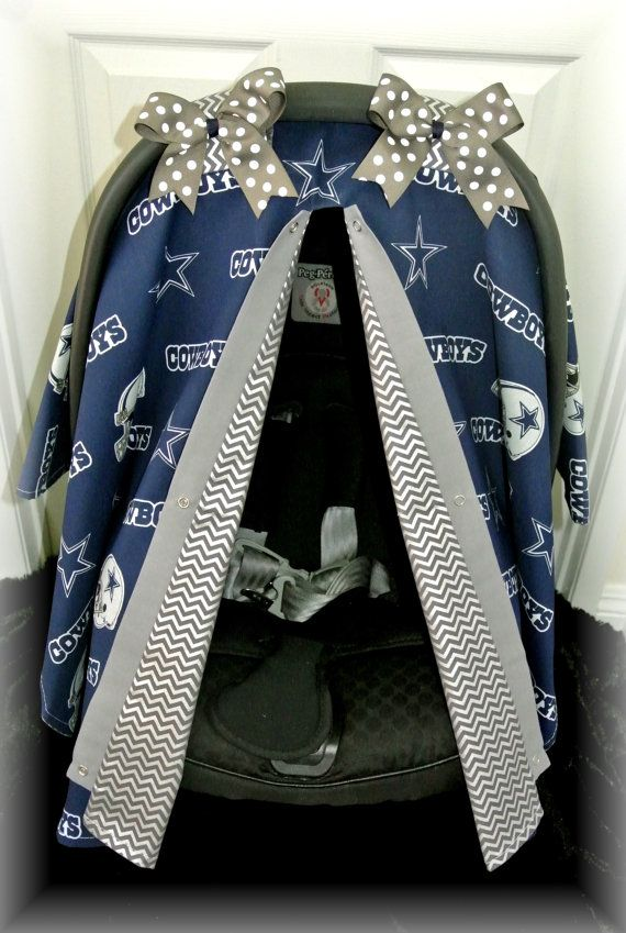car seat canopy, car seat cover, NFL, Dallas, Cowboys, silver, chevron, navy, football, polka dot, infant girl, baby, baby boy, infant boy