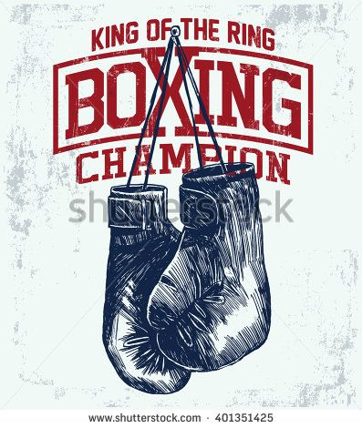 Vintage Boxing Gloves vector illustration. Template for print, t-shirt, poster or art works. - stock vector
