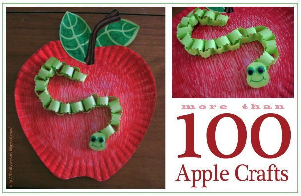 paper plate apple and worm