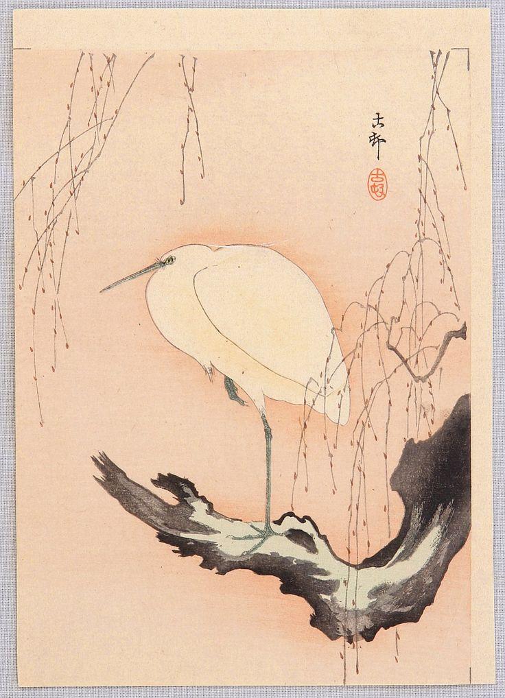 Ohara Koson: Egret on Willow Tree -  Ca. 1900-1910s