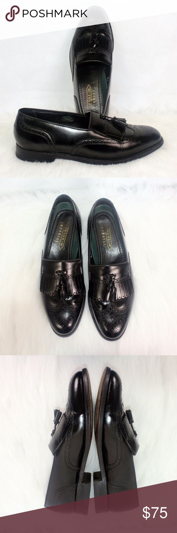 FLORSHEIM IMPERIAL VTG Mens Tassel Wingtip Shine L FLORSHEIM IMPERIAL VTG Mens Tassel Wingtip Shine Leather Shoe 9 1/2 D 92257 Kilt Widest Part Of Sole Bed 4 Inches Made In USA See Photos to Rate Condition  Great Shine Florsheim Shoes Oxfords & Derbys