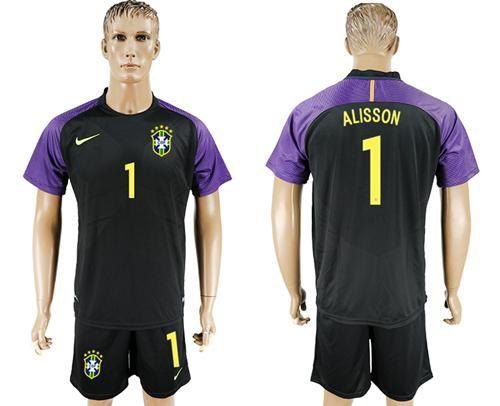 2017-2018 Brazil #1 Alisson Black Goalkeeper Soccer Country Jersey