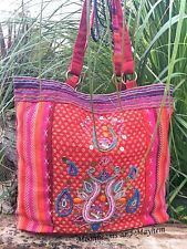 WONDERFUL NEW INDIAN EMBROIDERED SHOULDER BAG FAIR TRADE BOHO HIPPIE GYPSY PINK