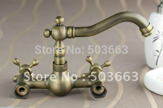 (53.55$)  Know more  - Wall Mounted Antique Brass Bathroom  Faucet Kitchen Basin Sink Mixer Tap CM0135 Mixer Tap Faucet
