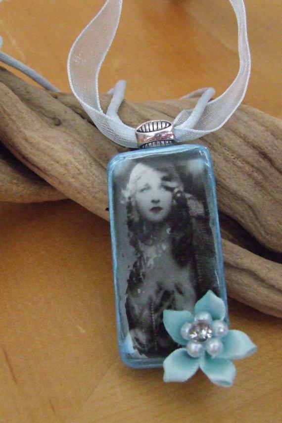 Domino Pendant Necklace by bellegemmebylisa on Etsy, $8.50