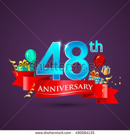 Design template 48th Anniversary celebration logo, with gift box and balloons, red ribbon. Vector illustration