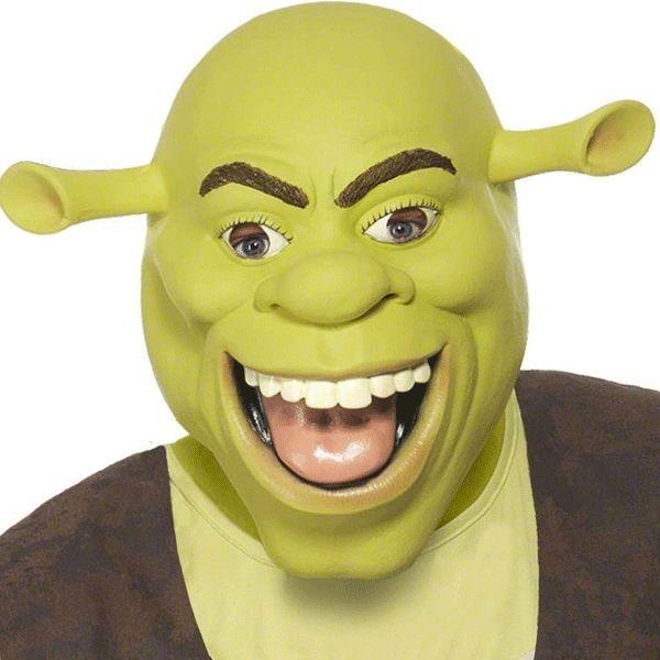 Shrek masker. Groot groen masker van de wereldberoemde anti-held Shrek. Gemaakt van latex materiaal. Dit Schrek masker is geschikt voor volwassenen.