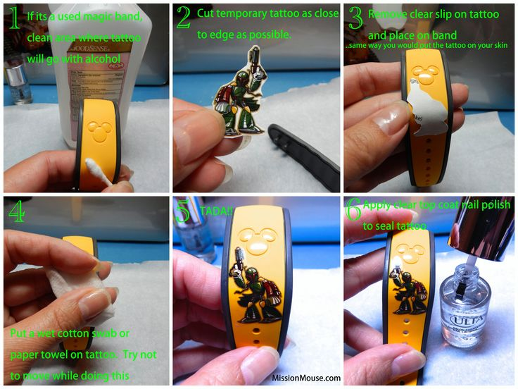Temporary tattoos on Magic bands-- steps with directions