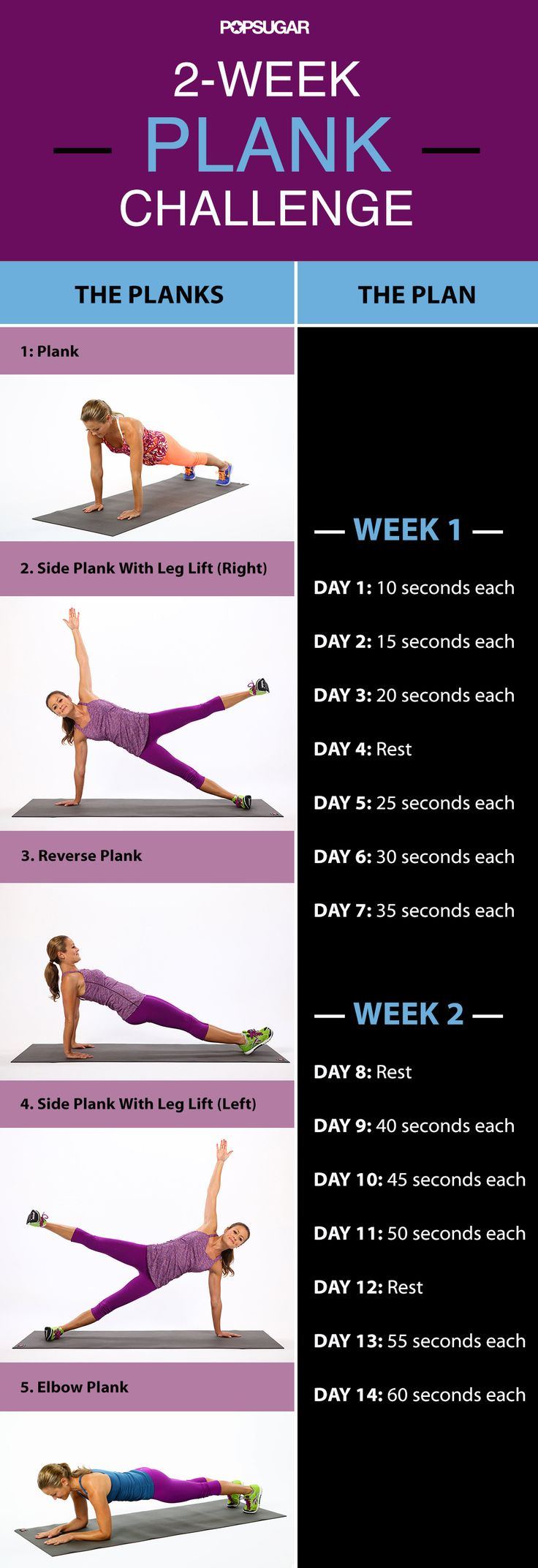 2-Week Plank Challenge - tone your core, strengthen your upper & lower body all with these simple moves.