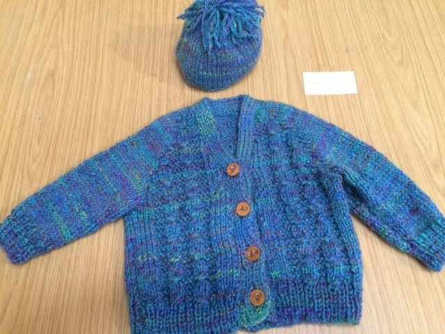 Sweater & Hat, Irish Celtic Cable Knit, Hand Made in Ireland, Tweed mix Blue, Green, Purples by TheCraftyShamrock on Etsy