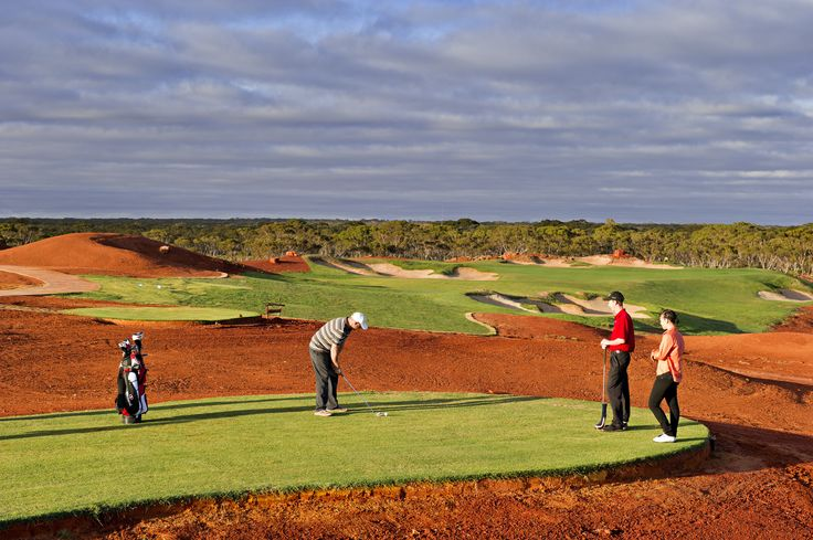 Nullarbor Links Golf Course: Nullarbor Links is a unique 18-hole par 72 golf course spanning 1,365 km - with one hole in each participating town or roadhouse along the Eyre Highway, from Kalgoorlie in Western Australia to Ceduna in South Australia. Each hole includes a green, tee and a somewhat rugged outback-style natural terrain fairway. A fun & exciting attraction! http://www.kalgoorlietourism.com/Nullabor-Links-Golf-Course