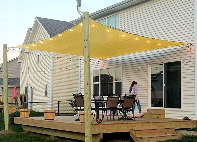 8 39 X 10 39 Rectangle Sand Sun Shade Sail Long Lasting Uv Block Shelter Canopy Patio Garden Ideas In 2020 Patio Shade Covers Patio Shade Patio Shade Diy