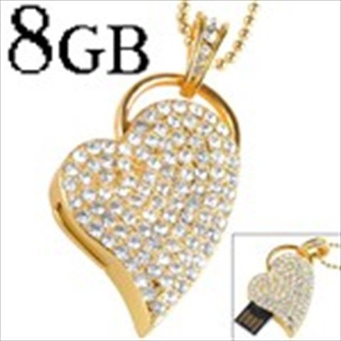 Fashionable Steel Heart Shaped 8GB Drive-less USB Flash Memory Drive U Disk Stick with Crystals - Golden