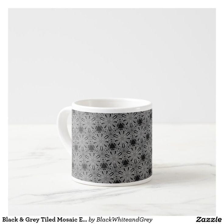 Black & Grey Tiled Mosaic Espresso Mug