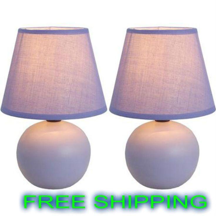 Table Lamp Mini Ceramic Set of 2 Globe Dorm Office Bedroom Lighting Many Colors #Unbranded #Modern