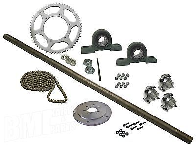 "Drift Trike Kit Set #40 Chain 40"" Axle Length Pillow Block Bearings Wheel Hubs"