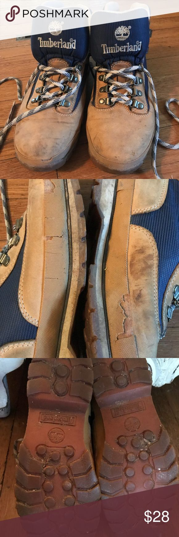 Timberland hiking boots Size 9 leather boots, moderately used, some cosmetic damage but good soles with a lot of life remaining. Timberland Shoes Lace Up Boots