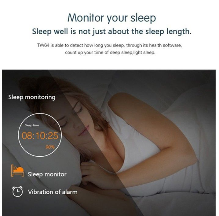 TW64 Smart Fitness Wristband Bluetooth 4.0 IP67 Waterproof Health Bracelet Sports & Sleep Tracking Fitness WWT-378413