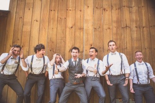 Great shot of the groom and groomsmen.  Wedding photography. Vintage rustic wedding. Best man.