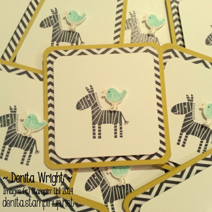 'Zigzag Cabana' Zoo Babies Notecard - made by Denita Wright