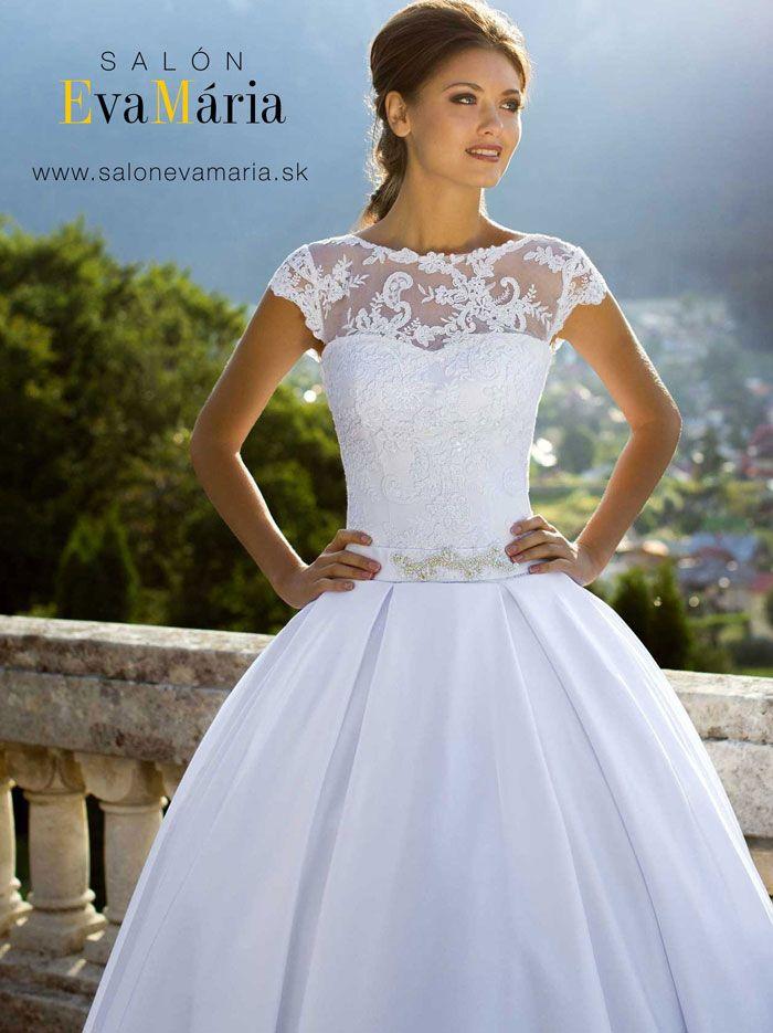 Svadobné šaty Alana na predaj s čipkovaným zvrškom a saténovou sukňou
