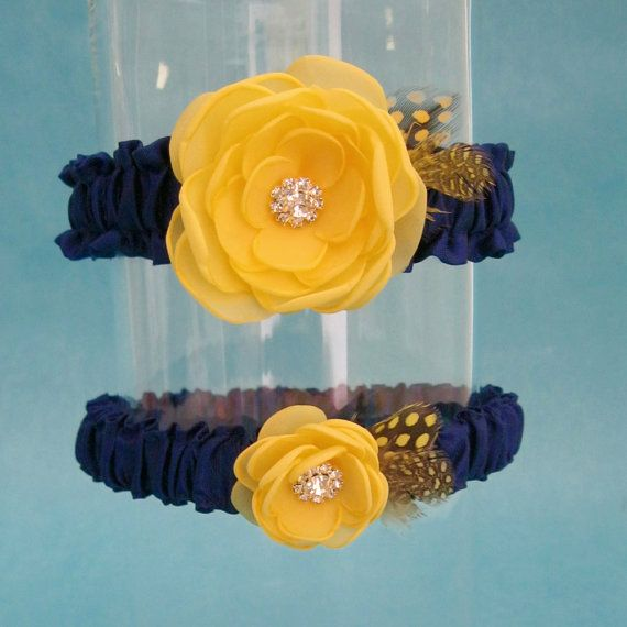 Wedding Garter Yellow And Navy Bridal Garter By