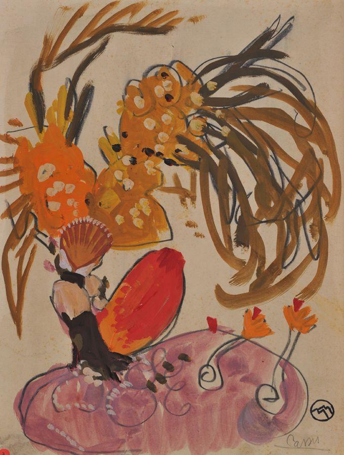 """Mathurin MEHEUT (1882-1958) """"Fond marin Cassis"""" aq gouachée cabd et cachet Partage 2008 au dos 33X25"""