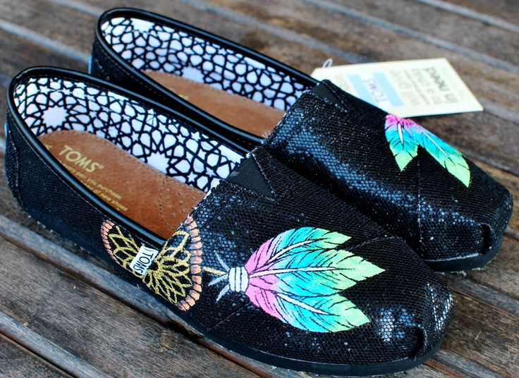 Pastel colored Dream Catchers on Black Glitter TOMS shoes. $139.00