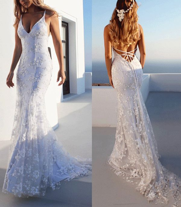 Mermaid Spaghetti Straps Lace Beach Wedding Dress 2019 Lace