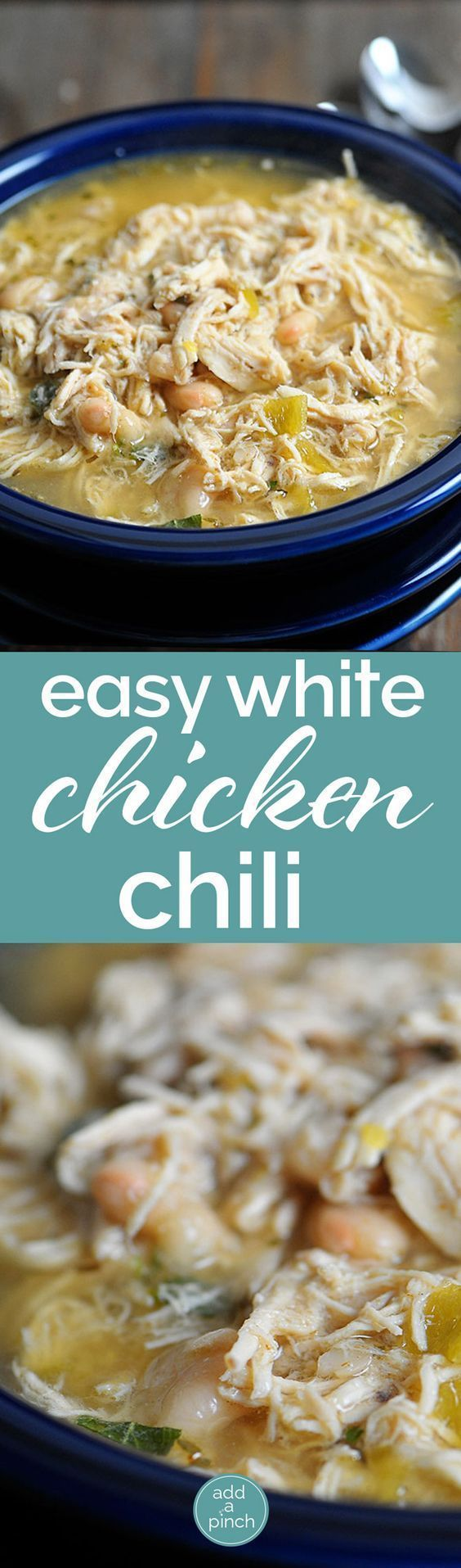 White Chicken Chili makes a delicious meal full of spicy chili flavor, white beans and chicken. You'll love this easy White Chicken Chili recipe. // addapinch.com (Cream Cheese Chicken Chili)