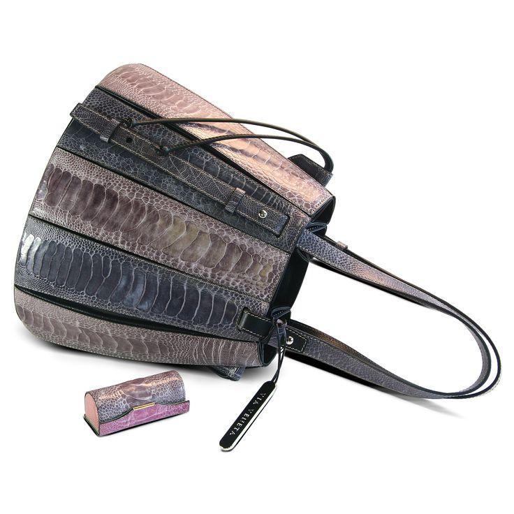 FERN handbag crafted from fine ostrich leg