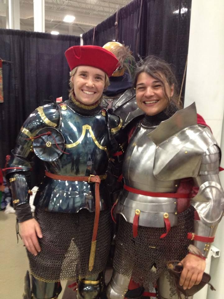 Jousters Alison Mercer(left) and Caroline LaBrie(right) at Le Salon du Cheval 2015  (photo by Marie-Kirya Duff)