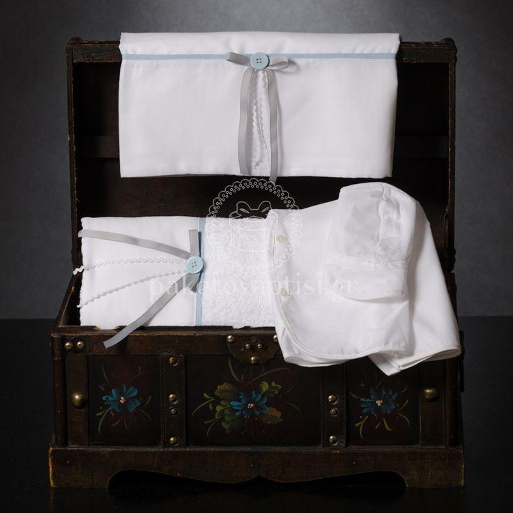 Λαδόπανο Βάπτισης Λευκό Σιέλ με Γκρι Φιογκάκι και Σιέλ Κουμπάκι
